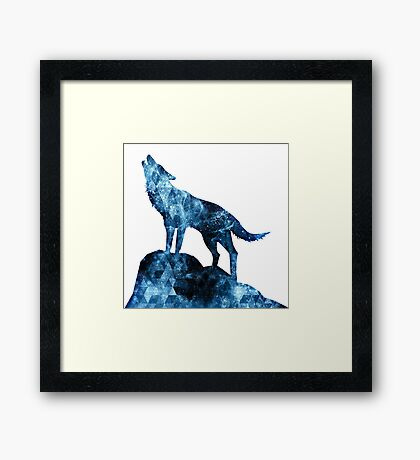 Howling Wolf blue sparkly smoke silhouette Framed Print