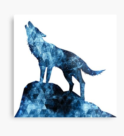 Howling Wolf blue sparkly smoke silhouette Metal Print