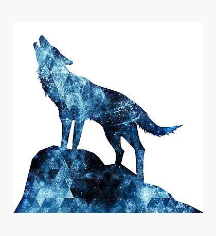 Howling Wolf blue sparkly smoke silhouette Photographic Print