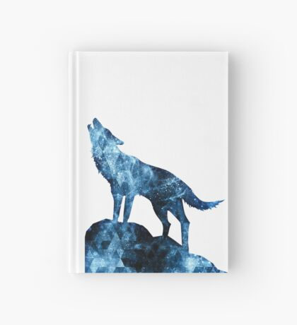 Howling Wolf blue sparkly smoke silhouette Hardcover Journal