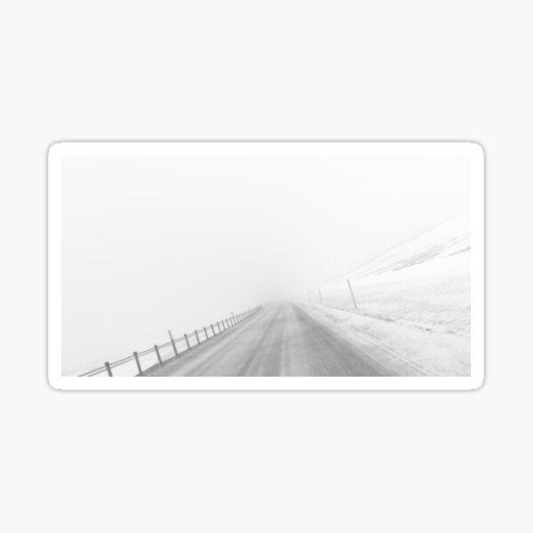 The Road Downhill - Black and White Sticker