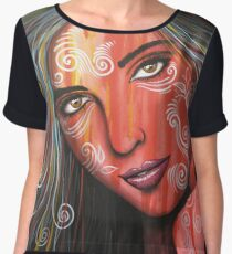 Abstract Art Portrait Female Face Painting / Memories Women's Chiffon Top