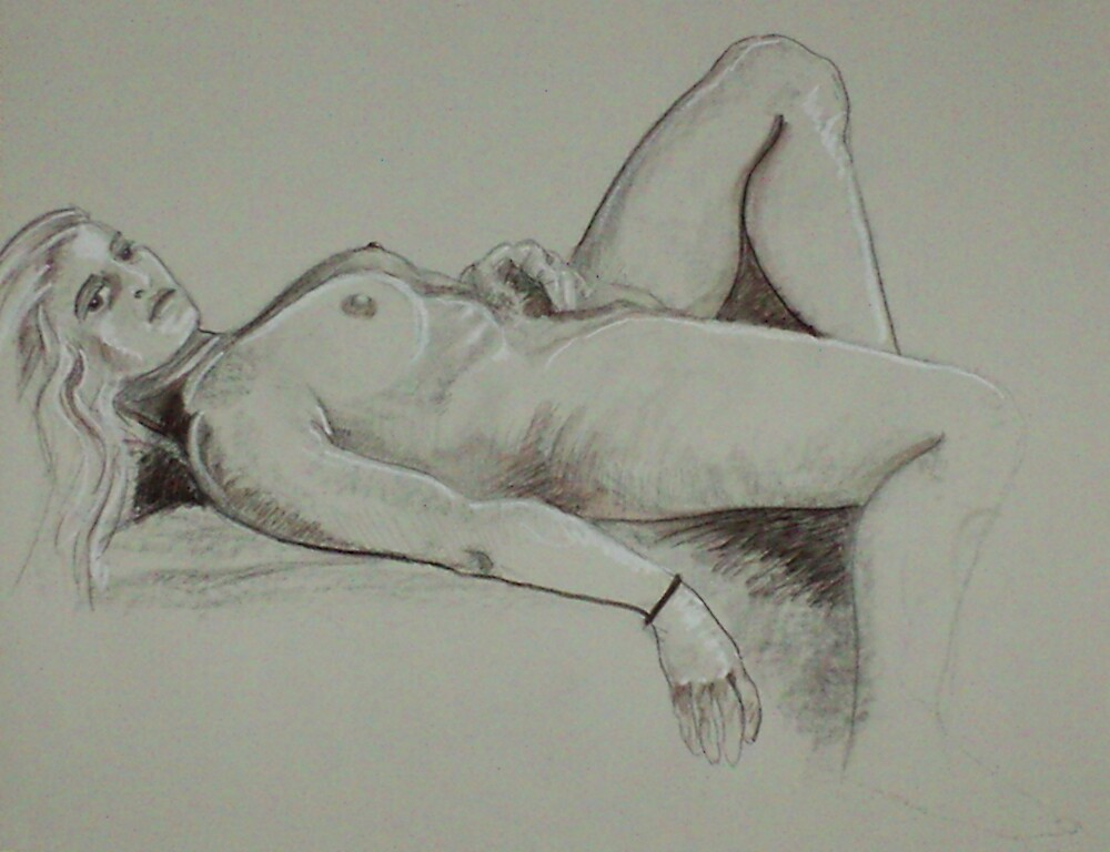 Pure Relaxation Female Nude (Drawing)- by Robert Dye