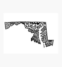 Maryland State Zentangle Outline Photographic Print