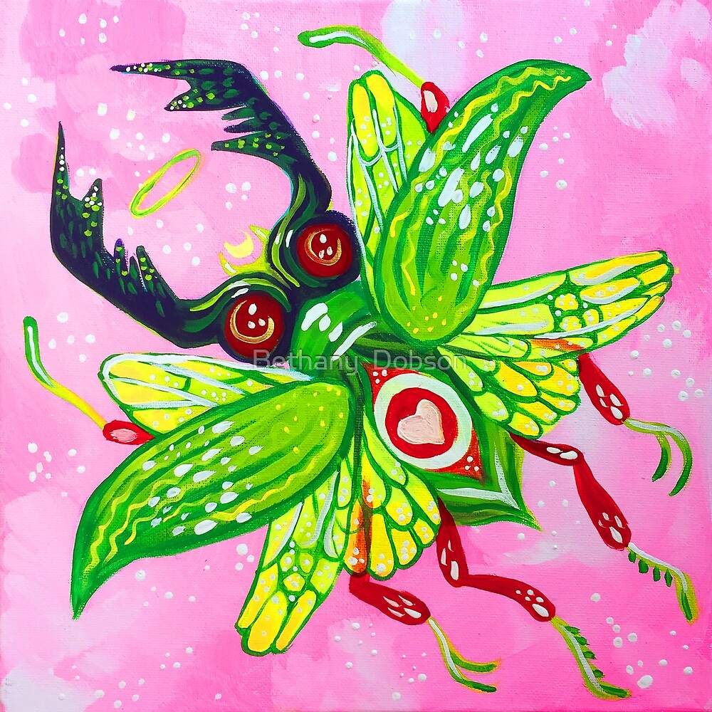Green Bug - Acrylic Painting by cloudsover31
