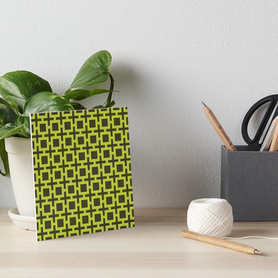 Geometric Pattern: Square + Cross: Green Art Board Print