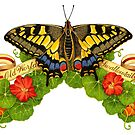 Old World Swallowtail Butterfly and Nasturtiums by PatriciaSheaArt
