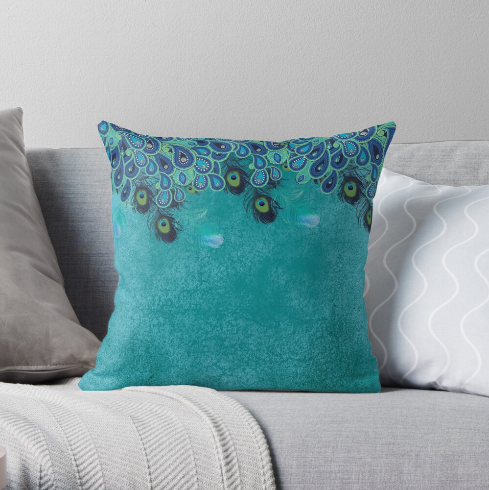 Teal Peacock Paisley Feather Blue Aqua Throw Pillow By Pinelemon Redbubble