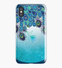 Dark Peacock, Paisley, Feather, Blue, Aqua iPhone Case