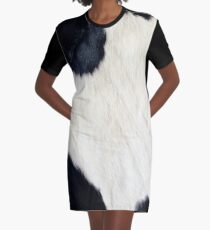Cowhide Black and white Graphic T-Shirt Dress