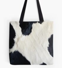 Cowhide Black and white Tote Bag