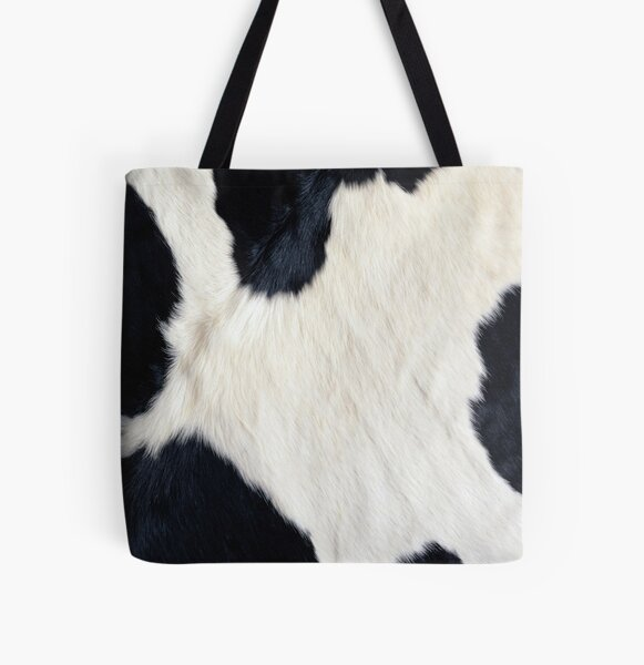 Cowhide Black and white All Over Print Tote Bag