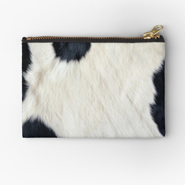 Cowhide Black and white Zipper Pouch