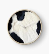 Cowhide Black and white Clock