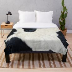 Cowhide Black and white Throw Blanket