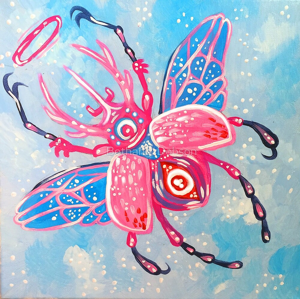 Horned Beetle - Acrylic Painting by cloudsover31