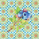 Maine Blueberry Gingham Mandala by PatriciaSheaArt