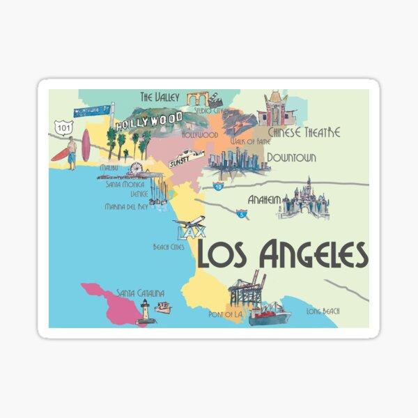 Mapa de la ciudad icónica limpia de Los Ángeles California Pegatina