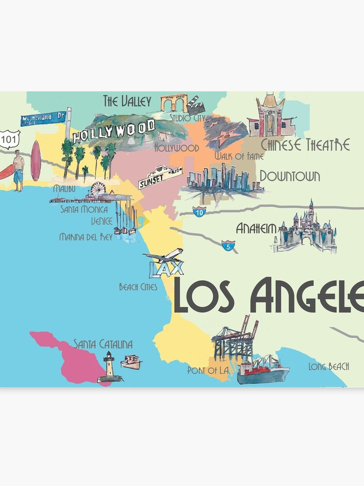 picture about Printable Maps of Los Angeles referred to as Los Angeles - Map Canvas Print