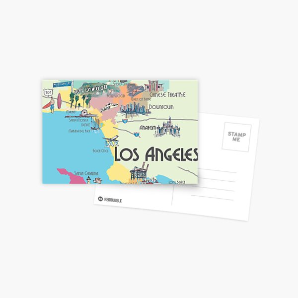 Los Angeles California Clean Iconic City Map Postcard