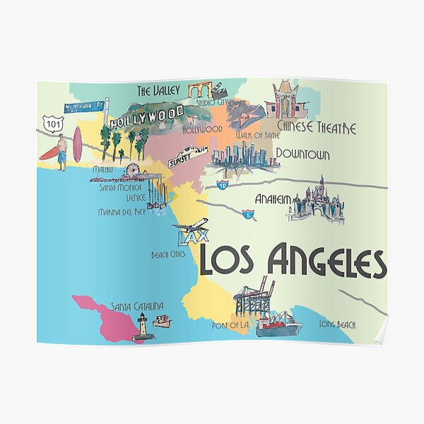 Los Angeles California Clean Iconic City Map Poster