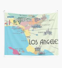 Los Angeles - Map Wall Tapestry