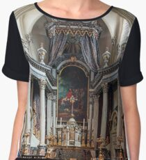 Beautiful baroque church interior in Brussels, Belgium, culture and touristic concept Women's Chiffon Top