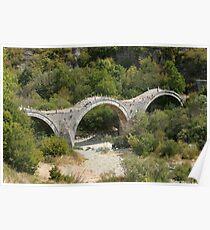 The old, triple-arch stone Bridge at Kipi. Poster
