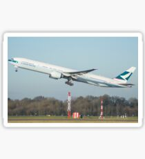 Cathay Pacific 777-300ER Departing Manchester Airport Sticker