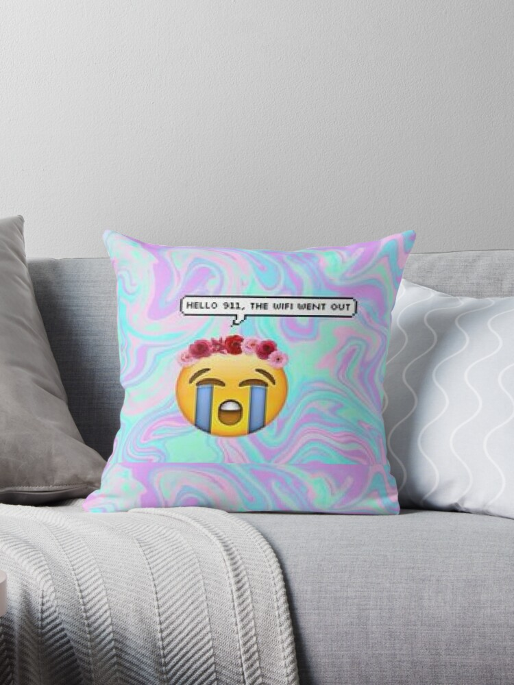Hello 911 The Wifi Went Out Emoji Design Quot Throw Pillows