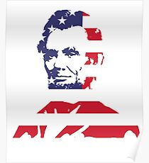 Abraham Lincoln USA Flag Poster