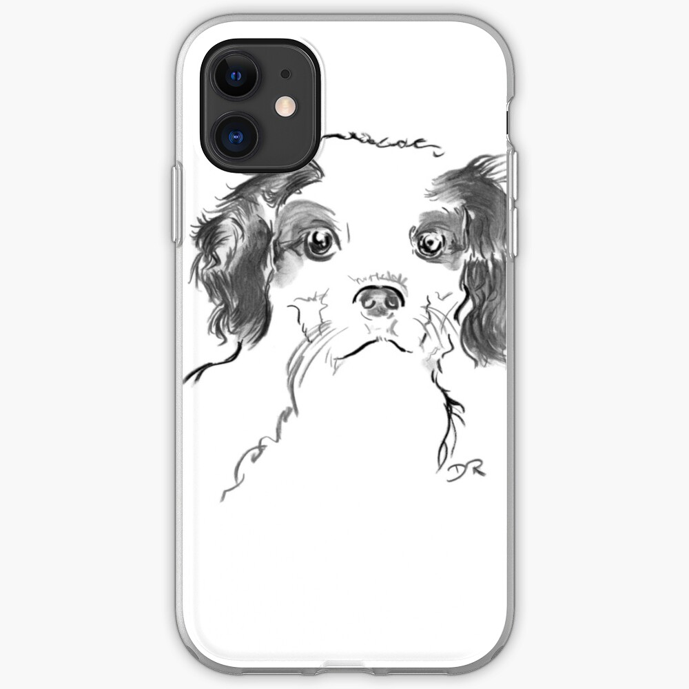 Cavalier King Charles Spaniel Puppy Drawing iPhone Case & Cover