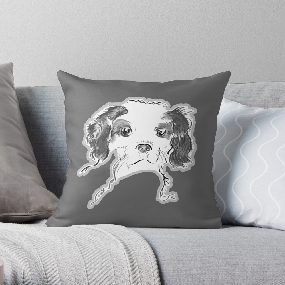 Cavalier King Charles Spaniel Puppy Drawing Throw Pillow