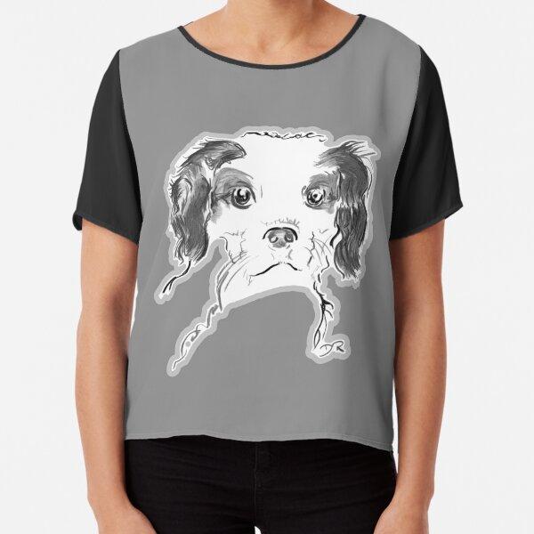 Cavalier King Charles Spaniel Puppy Drawing Chiffon Top