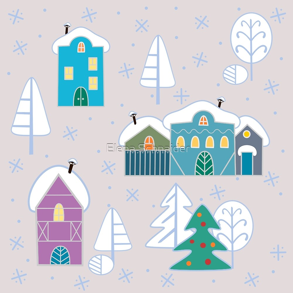 Winter houses Pattern by Elena Schnaider