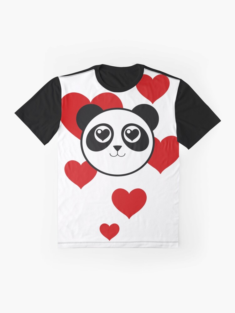 Alternate view of Love Panda with Hearts Graphic T-Shirt