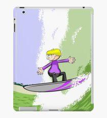 Boy daring boy surfing a mega wave iPad Case/Skin