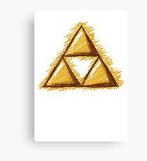 Sketchy Triforce on White Canvas Print