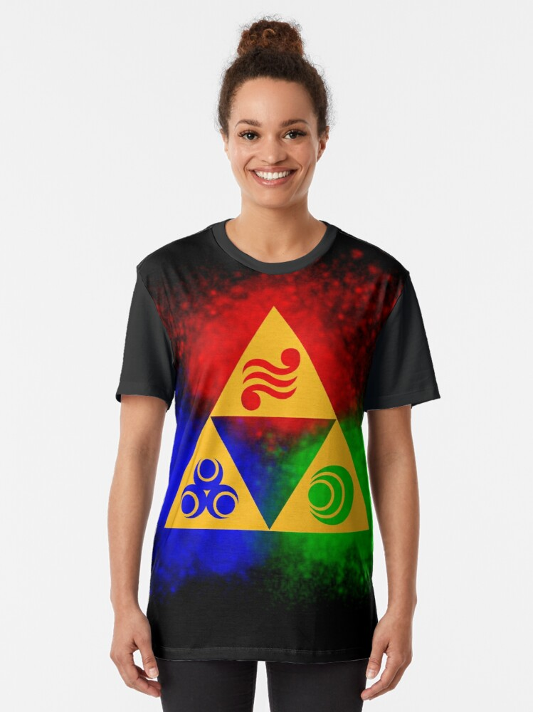 Alternate view of Triforce with Goddess Symbols Graphic T-Shirt