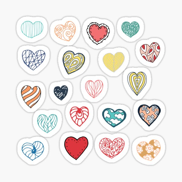 Vintage hearts on pink background Sticker