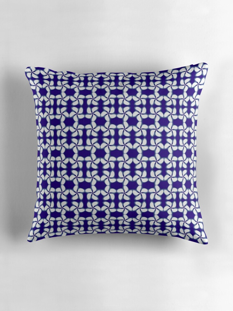 Blue And White Pillows Part - 36: Kumo Shibori Dark Blue Modern Japanese Inspired Geometric Print On White By  Saburkitty