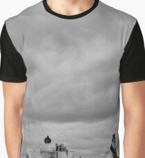 Black And White Boat Photo Graphic T-Shirt