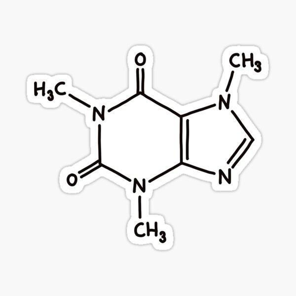 Molekülstrukturaufkleber des Koffeinmoleküls - Hand gezeichnete Art Sticker