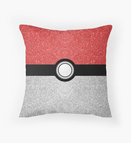 Sparkly red and silver sparkles poke ball Throw Pillow