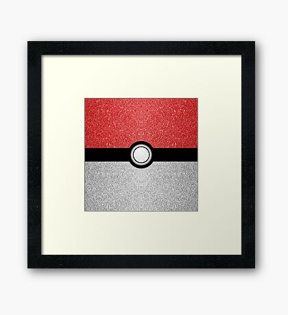 Sparkly red and silver sparkles poke ball Framed Print
