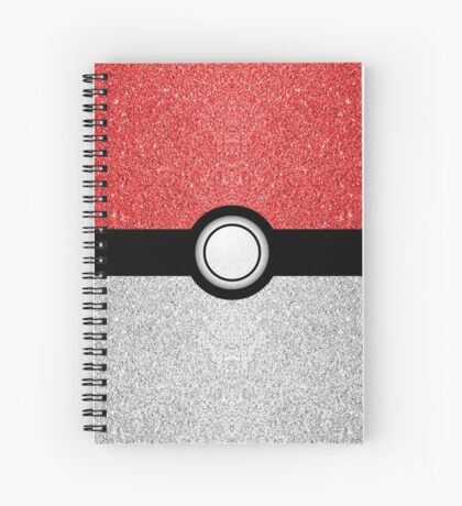 Sparkly red and silver sparkles poke ball Spiral Notebook