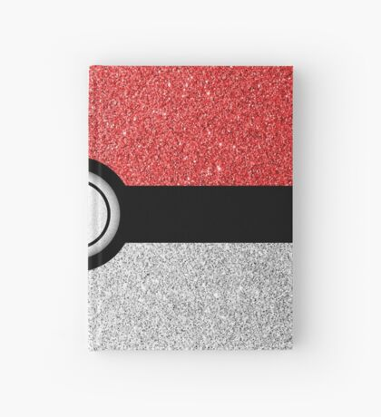 Sparkly red and silver sparkles poke ball Hardcover Journal