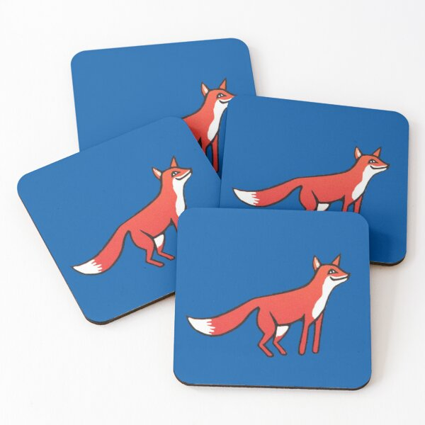 Stargazing - Fox in the Night - original linocut by Francesca Whetnall Coasters (Set of 4)