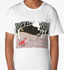 Stargazing - Fox in the Night Long T-Shirt