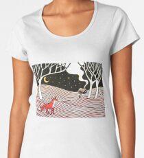 Stargazing - Fox in the Night - original linocut by Francesca Whetnall Women's Premium T-Shirt